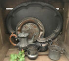 LOT Antique primitive cottage farmhouse COFFE POT PLATTER Creamer MUGS