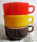 3 VTG FIRE KING Anchor Hocking Stackable Soup Bowls D Handle Red/Brown/Yellow