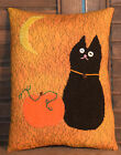 Primitive Cupboard Tuck Cat Moon Pumpkin Stitchery Autumn Halloween Bowl Filler