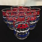 LOT of NINE (9) Vintage Libbey Red,White, and Blue 6 oz Juice Glasses Flower
