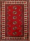Remarkable Geometric Wool 3X2 Red Balouch Persian Oriental Area Rug 2' 5