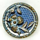 SMALL Antique VINTAGE TINTED Blue BRASS VICTORIAN Flower Button 9/16 A45
