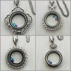 Large Floating Locket Rolo Chain plus 2 FREE Origami Owl Charm Sparkly Crystals