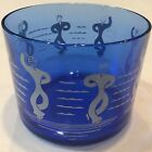 Hazel Atlas Cobalt Blue Glass Ice Bucket Sailor Nautical Navy Dancing White Bowl