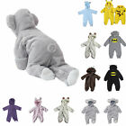 US Newborn Baby Boy Girl Hooded Romper Jumpsuit Bodysuit Outfits Clothes 0 24 M