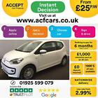 2015 WHITE VW UP 10 60 MOVE UP ASG PETROL AUTO 3DR HATCH CAR FINANCE FR 25 PW