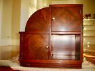 Vintage Art Deco Cabinet Mirrored Veneers Tilted Magazine Rack Brass Ball Pulls