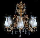 French Empire/Rococo/Gilt Hollywood Regency/Cut Crystal Globes 6Light Chandelier