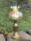 Fenton Student Lamp Hand Painted Butterflies In Autumn Artist Signed