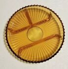 Indiana pressed Glass Amber Ribbed 4 Part Divided 10