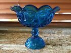 Vintage LE Smith Aqua Blue Glass Compote Moon and Stars Ruffled Edges 8