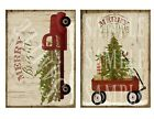 2 Primitive Merry Christmas Vintage Red Truck and Wagon Laser Print 5x7