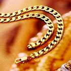 24K Gold Plated Solid Heavy Long Mens Jeweley Cuban Link Chain Necklace 24 Inch