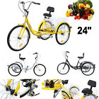 Adult 24 3 Wheel Shimano 7 Speed Tricycle Trike Bicycle Bike Cruise With Basket