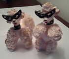 Two Pink Spahetti Poodles Black Rhinestone Cat Glasses Poodle Gold Trim Collar