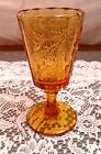 Amber Pedestal Goblet Feather and Berries 6 Inches Tall 12 Panels Vintage