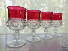 Indiana Colony Glass 4 Clear Ruby Flash Band Kings Crown 8 oz Goblets