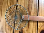 Vintage Wood Handle Wire Strainer Spoon Sifter Deep Fryer Primitive Decor