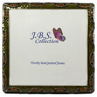 Bejeweled crystal wave pattern antique look square photo frame enamel painted