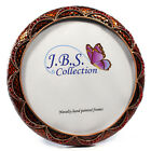 Bejeweled wave pattern antique look round photo frame enamel painted red