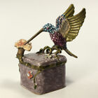 Bejeweled hummingbird trinket box Faberge figurine with crystals in multi