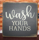 PRIMITIVE  COUNTRY WASH YOUR HANDS mini  sq BATH SIGN