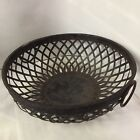 ANTIQUE PRIMITIVE HANDMADE IRON METAL WOVEN BASKET, CENTER BOWL 12