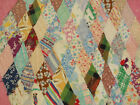 Vtg Antique 1930 DISTRESSED FEED SACK Pink ANGEL WING DIAMOND Cutter Quilt 82X68