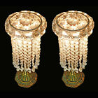 Antique 1920s Pair of French Regency Empire Table Lamps in Bronze and Crystal