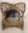 Antique Small Round Picture PHOTO Frame with pearls Stand Up Dresser