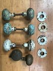 4 pairs Antique Ornate brass door knobs lot #4 3 day no reserve