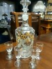Hand Painted Crystal Glass Decanter with 4 Glasses, Hand Blown signed #12 Beauty