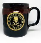 Death Wish Coffee Mug Camper OG 2016 Black Red Deneen Pottery Skull Very Rare