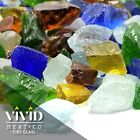 VIVID SEA GLASS Large Fireplace Fire Pit Glass Crystals Blue Green Clear Amber