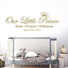 Our Little Prince Names  Date of Birth Baby Nursery Boys Wall Sticker