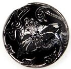 BEAUTIFUL Antique VICTORIAN Glass Button Incised LILLY  Flower with SILVER #100