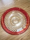 Vintage Indiana Glass Diamond Point Ruby Salad Bowl / Fruit Dish 13.5