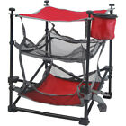 3 Shelf Folding Square Camping Table with Cup Holder Red Mesh Storage Organizer