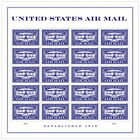 USPS New United States Air Mail Blue Pane of 20 stamps