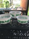 Vintage Hazel Atlas Milk Glass Mixing Serving Bowls Ivy Green Leaves Set /3 EUC