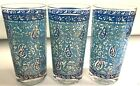 3 MID CENTURY GEORGES BRIARD SARI PAISLEY TALL GLASS TUMBLER HIGHBALL BLUE GOLD
