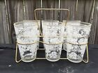 Hazel Atlas Juice Glasses Set of 6 Grapes Print White Clear Glass Retro W/ Caddy