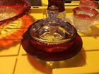indiana glass ruby red Thumbprint Butter Dish With Lid
