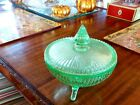 Beautiful Ribbed Green Glass vaseline, Candy Dish With Lid, mint