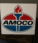 Amoco Gas Sign Truck Mechanic Garage Repair Shop Red White 10.5 x 12 50028