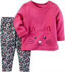 Carters Baby Girl Pink 3D Kitten Terry Top  Floral Legging 2pc Set NWT 24