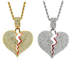 Iced Out Broken Heart Pendant 24 Stainless Steel Rope Chain Necklace with Box