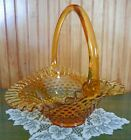 Fenton Large Art Glass Hobnail Basket w Handle 10 Colonial Amber