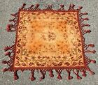 Antique 19th C Victorian Chenille Floral Square Table Cover Textile Machine Tuft