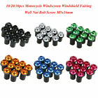 10/20/30pcs Motorcycle Windscreen Windshield Fairing Well Nut Bolt Screw M5x16mm
